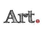The word art spelt out in graphic design lettering with a red full stop